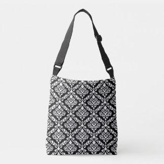 Prima Damask Pattern White on Black Crossbody Bag