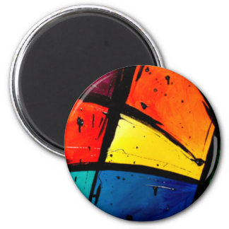 Primary Abstract Groovy Art 6 Cm Round Magnet