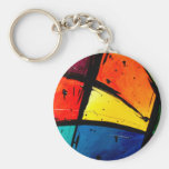 Primary Abstract Groovy Art Basic Round Button Key Ring