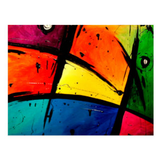 Primary Abstract Groovy Art Postcard