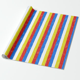 Primary Color Crayon Stripes Wrapping Paper