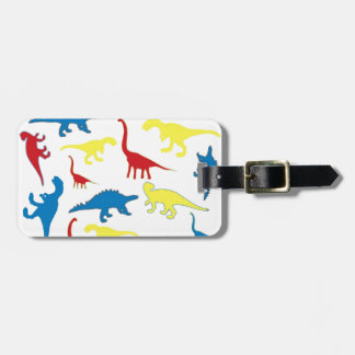 Primary color dinosaurs pattern luggage tag