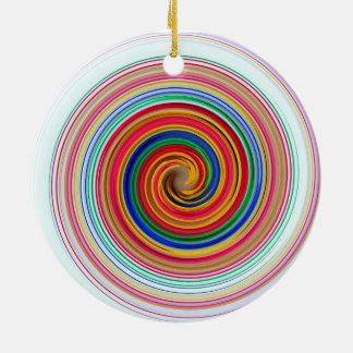 Primary Color Swirls Ceramic Ornament
