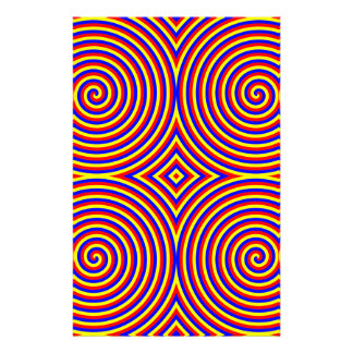 Primary Colors Bright and Colorful Spirals Custom Stationery