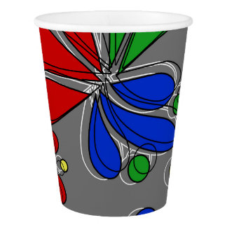 Primary Colors Floral Paper Cup