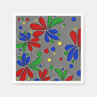 Primary Colors Floral Paper Napkins