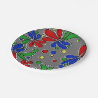 Primary Colors Floral Paper Plate