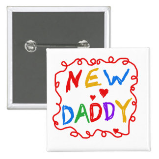 Primary Colors New Daddy Tshirts and Gifts 15 Cm Square Badge
