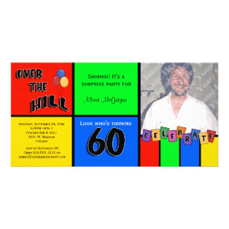 Primary Colors Photo Surprise 60th Birthday Party Photo Card Template