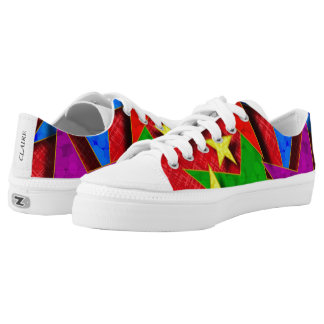 Primary Colors Star Pattern Low Top Canvas Shoes