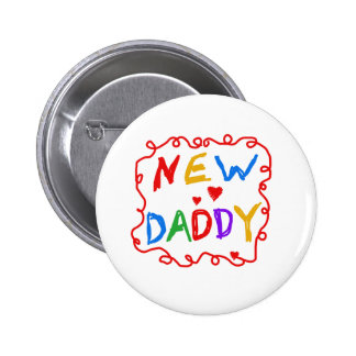 Primary Colors Text New Daddy 6 Cm Round Badge