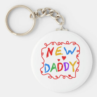 Primary Colors Text New Daddy Basic Round Button Key Ring