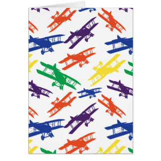 Primary Colors Vintage Biplane Airplane Pattern Card
