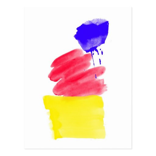 Primary Colors Watercolor Post Card