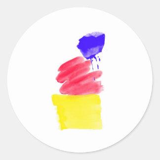 Primary Colors Watercolor Round Sticker