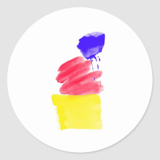 Primary Colors Watercolor Round Sticker
