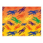 Primary Colours Vintage Biplane Aeroplane Pattern