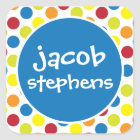 Primary Polka Dots Personalised Stickers