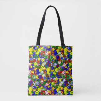 Primary Smiley Face Beads-GREEN-ALLOVER TOTE BAG