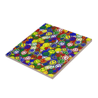 Primary Smiley Face Beads-RED-CERAMIC TILE
