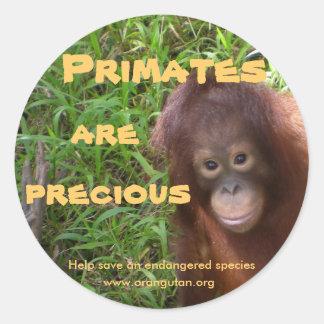 Primates are Precious Classic Round Sticker