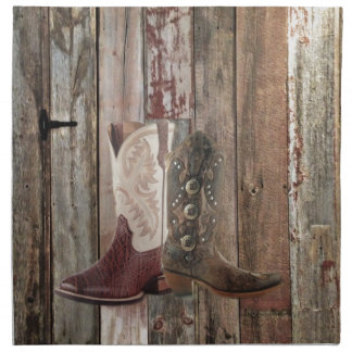 Primitive barn wood country Western Cowboy Boot Napkin