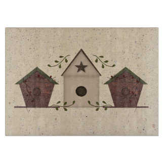 Primitive Bird Houses Glass Cutting Board
