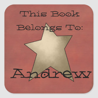 Primitive book plate square sticker