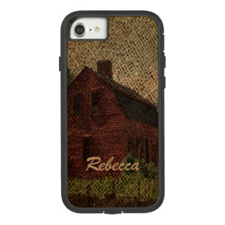 Primitive burlap country farmhouse red barn Case-Mate tough extreme iPhone 8/7 case