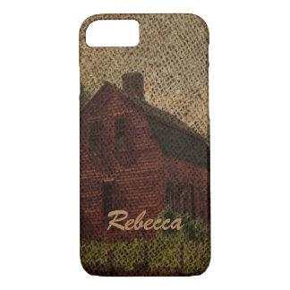 Primitive burlap country farmhouse red barn iPhone 8/7 case