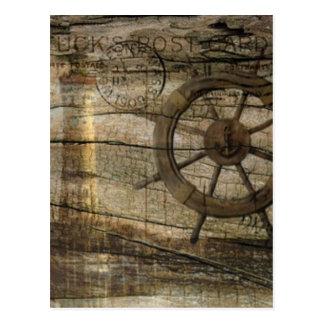 Primitive Coastal Nautical Helm Wheel lighthouse Postcard