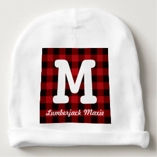 Primitive Cottage Red buffalo Plaid lumberjack Baby Beanie