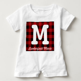 Primitive Cottage Red buffalo Plaid lumberjack Baby Bodysuit
