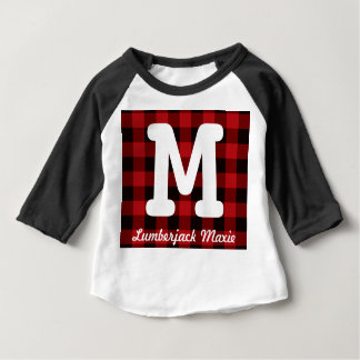 Primitive Cottage Red buffalo Plaid lumberjack Baby T-Shirt
