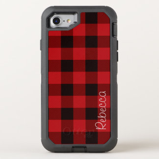 Primitive Cottage Red buffalo Plaid lumberjack OtterBox Defender iPhone 8/7 Case