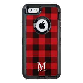 Primitive Cottage Red buffalo Plaid lumberjack OtterBox Defender iPhone Case