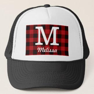 Primitive Cottage Red buffalo Plaid lumberjack Trucker Hat