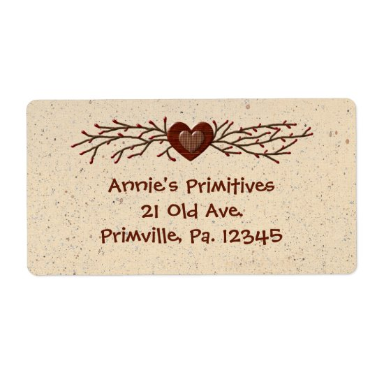 Primitive Country Heart Business Label