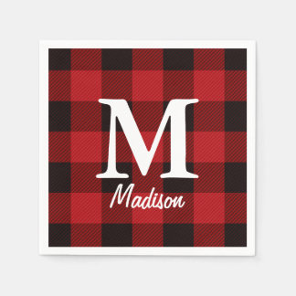 Primitive country lumberjack Red buffalo plaid Disposable Serviettes