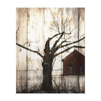 Primitive Country Woodgrain Winter Tree Red Barn Canvas Print