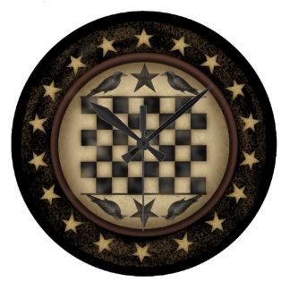 Primitive Crow Checkerboard Wall Clock