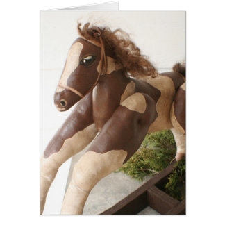 Primitive Folk Art Christmas Card - Rocking Horse