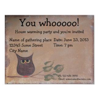 Primitive Folk Art Owl Acrylic Painting 11 Cm X 14 Cm Invitation Card