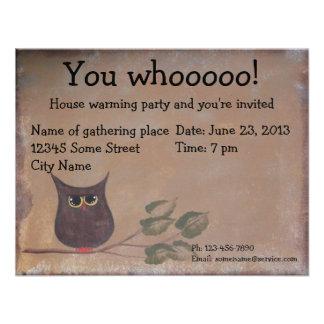 Primitive Folk Art Owl Acrylic Painting Personalized Announcement