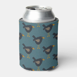 Primitive Folk Art Rustic Country Bird Pattern Can Cooler