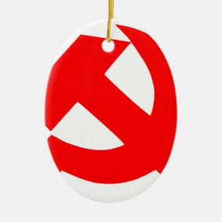 Primitive Hammer and Sickle Soviet Union CCCP Ceramic Ornament