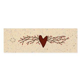 Primitive Heart Skinny Hang Tag Pack Of Skinny Business Cards