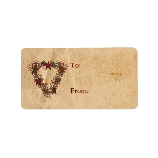 Primitive Holiday Wreath Gift Label