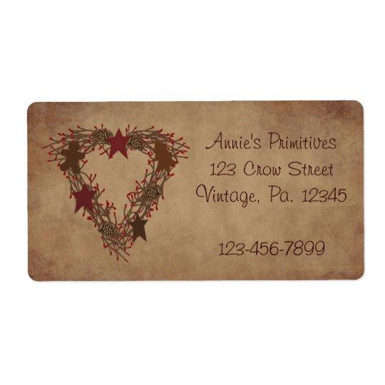 Primitive Holiday Wreath Label