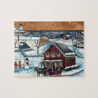 Primitive New England Christmas Jigsaw Puzzle